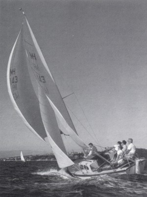 Deryn Glas on Sydney Harbour in 1966