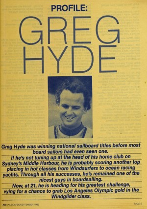 Profile Greg Hyde - Sailboards/September 1983