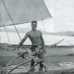 The Australian voyagers were drawn to fellow sailors and exotic craft, this combination recorded in Tahiti