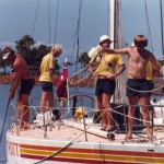 "Big Schott leaving Waikiki Yacht Club, start of the 800nm ""Around the State"" race"