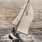 Siandra racing up the Derwent on her way to win in the Sydney to Hobart Yacht Race 1960