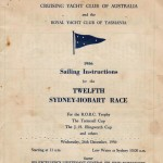Sailing Instructions for Sydney to Hobart Yacht Race 1956 Page 1