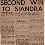 Second Win to Siandra Hobart 1960