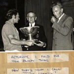 Gilbert Thomas (Tig) Collecting trophy in Hobart