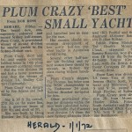 Plum Crazy Best Small Yacht - Herald 1 Jan 1972