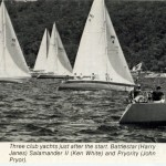 Three club Yachts just after the start. Battlestar (Harry Janes), Salamander II (Ken White) and Pryority (John Pryor).